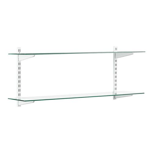 White & Glass Twin Slot Shelving Kit - 2 Shelves