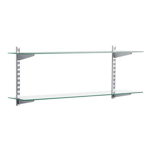 Chrome & Glass Twin Slot Shelving Kit - 2 Shelves