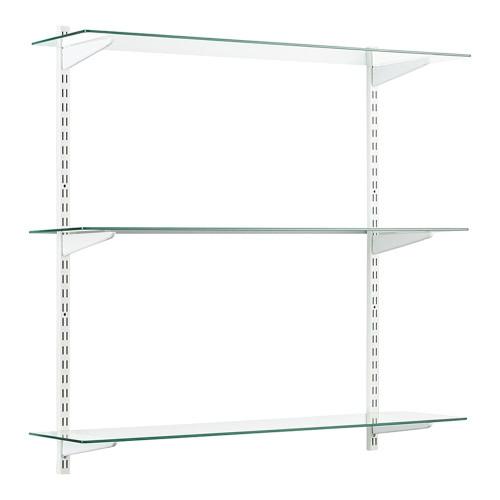 White & Glass Twin Slot Shelving Kit - 3 Shelves