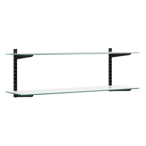Black & Glass Twin Slot Shelving Kit - 2 Shelves