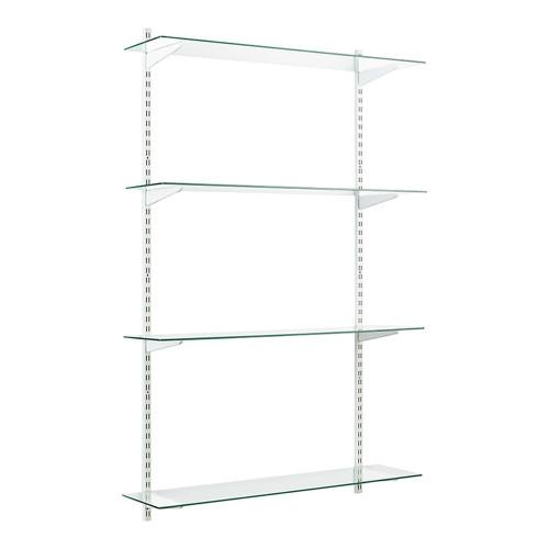 White & Glass Twin Slot Shelving Kit - 4 Shelves
