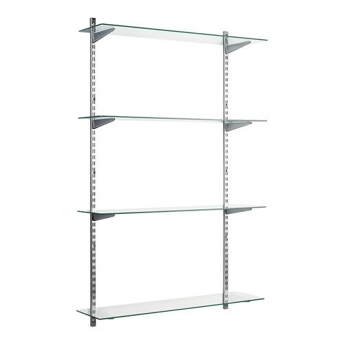 Chrome & Glass Twin Slot Shelving Kit - 4 Shelves