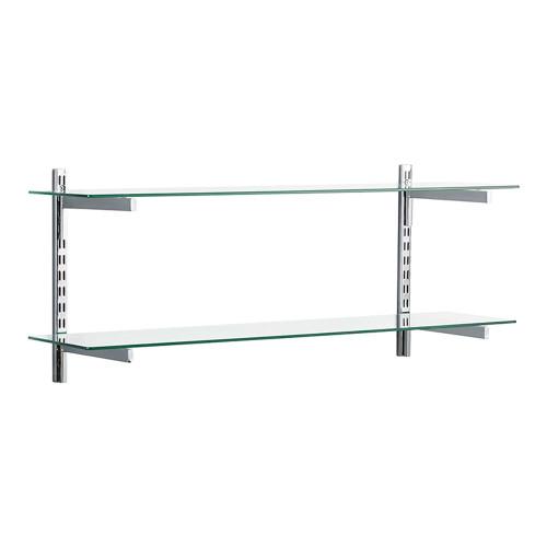 Chrome & Glass Twin Slot Shelving Kit - D300mm - 2 Shelves, 4 Square Brackets
