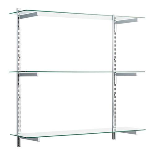 Chrome & Glass Twin Slot Shelving Kit - D300mm - 3 Shelves, 4 Square Brackets