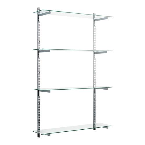 Chrome & Glass Twin Slot Shelving Kit - D300mm - 4 Shelves, 4 Square Brackets
