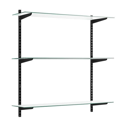 Black & Glass Twin Slot Shelving Kit - 3 Shelves