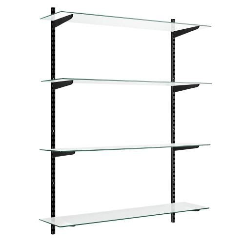 Black & Glass Twin Slot Shelving Kit - 4 Shelves