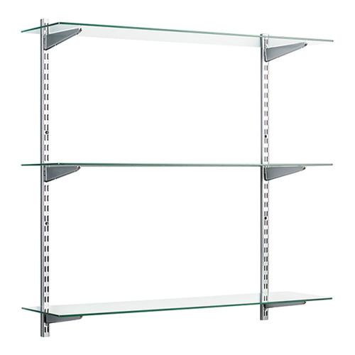 Chrome & Glass Twin Slot Shelving Kit - 3 Shelves
