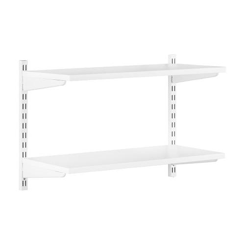 White Wooden Twin Slot Shelving Kit - 2 Shelves