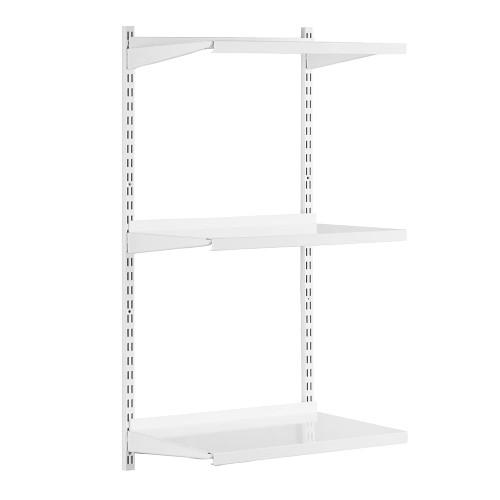 White Twin Slot Shelving Kit - H1000mm - 3 Shelves