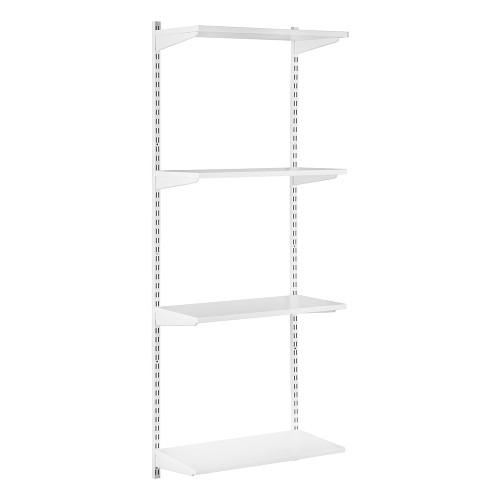 White Twin Slot Shelving Kit - H1600mm - 4 Shelves