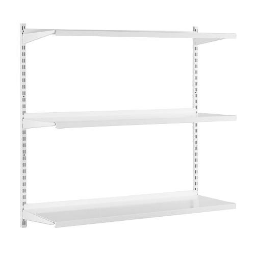 White Steel Twin Slot Shelving Kit - W1000mm - 2 Shelves