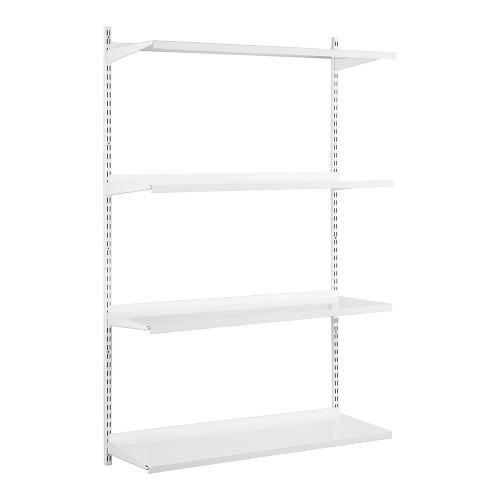 White Steel Twin Slot Shelving Kit - W1000mm - 4 Shelves