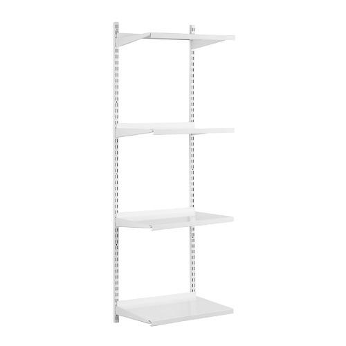 White Steel Twin Slot Shelving Kit - W500mm - 4 Shelves