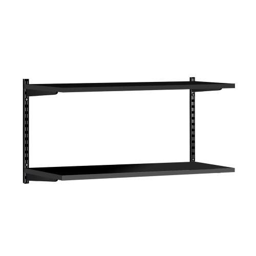 Black Twin Slot Shelving Kit - H430mm - 2 Shelves