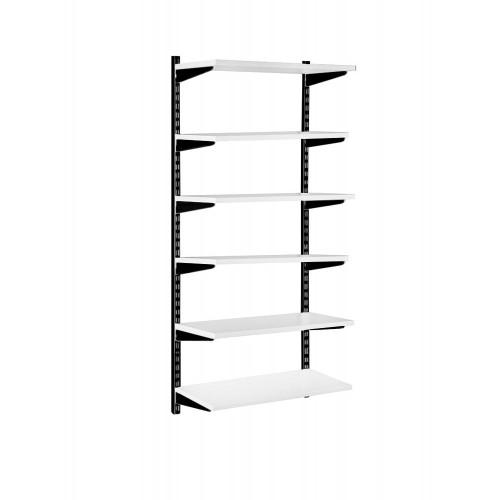 Black & White Twin Slot Shelving Kit - H1980mm - 6 Shelves