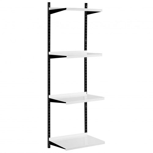 Black & White Steel Twin Slot Shelving Kit - W500mm - 4 Shelves