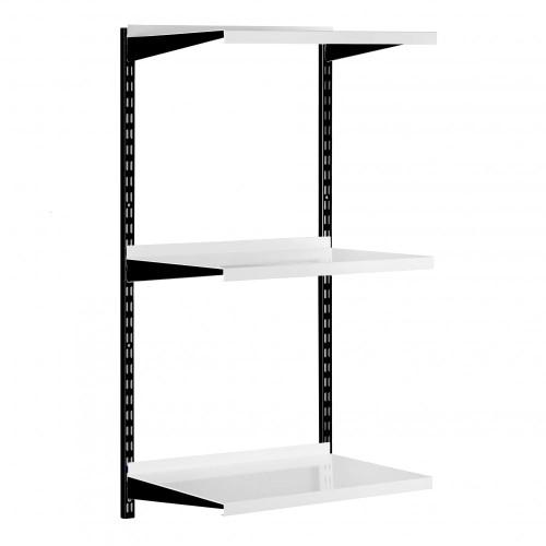 Black & White Steel Twin Slot Shelving Kit - W500mm - 3 Shelves