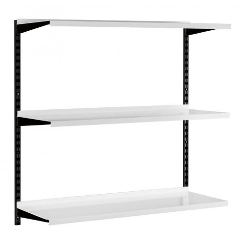 Black & White Steel Twin Slot Shelving Kit - W1000mm - 3 Shelves