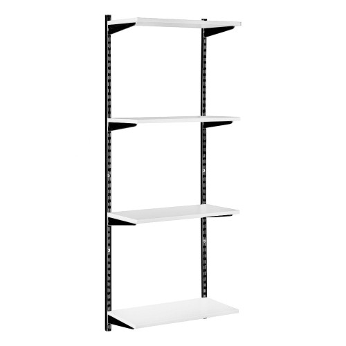 Black & White Twin Slot Shelving Kit - H1600mm - 4 Shelves