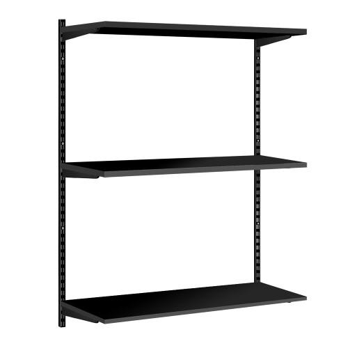 Black Twin Slot Shelving Kit - H1000mm - 3 Shelves