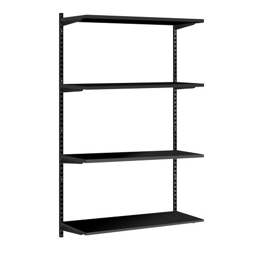 Black Twin Slot Shelving Kit - H1600mm - 4 Shelves