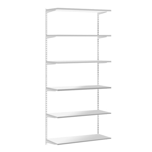 White Twin Slot Shelving Kit - H1980mm - 6 Shelves