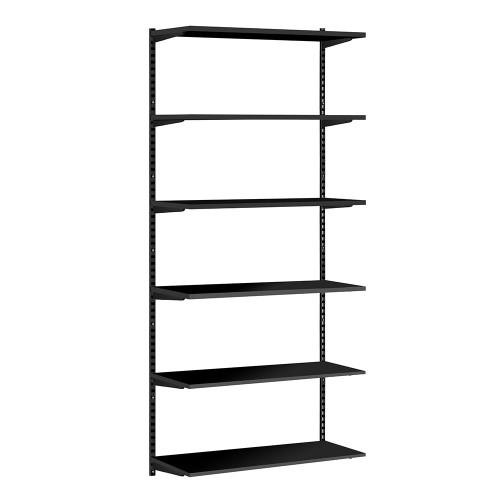 Black Twin Slot Shelving Kit - H1980mm - 6 Shelves