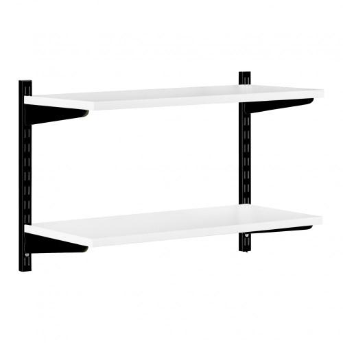 Black & White Twin Slot Shelving Kit - H430mm - 2 Shelves