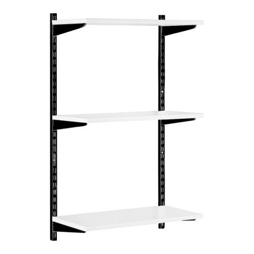 Black & White Twin Slot Shelving Kit - H1000mm - 3 Shelves