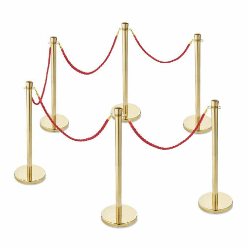 6 x Premium Rope Barriers - Polished Gold Stainless Steel Posts with 5 x Red Twisted Ropes