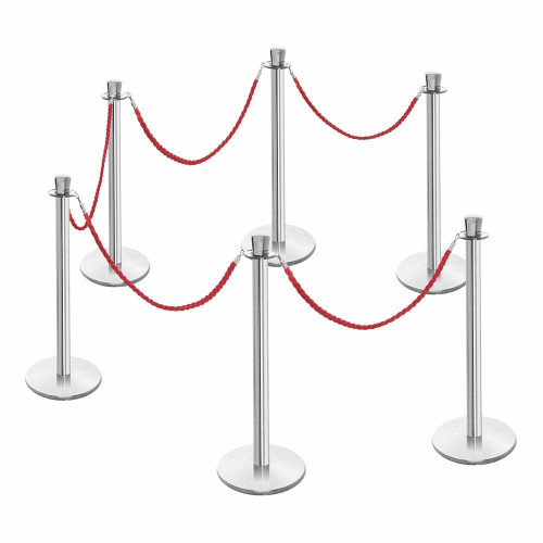 6 x Premium Rope Barrier Posts - Polished Stainless Steel Posts with 5 x Red Twisted Ropes