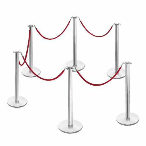 6 x Rope Barrier Posts - Polished Stainless Steel Posts with 5 x Red Velvet Ropes