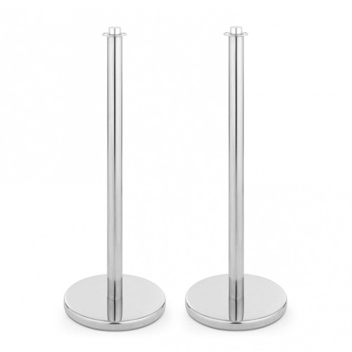 Pair of Indoor/Outdoor Barrier Posts - Polished Stainless Steel Posts for Rope Barriers