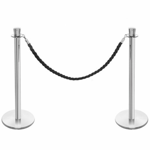Pair of Premium Rope Barrier Posts - Polished Stainless Steel Posts with Black Twisted Rope