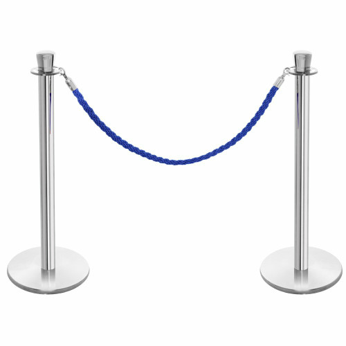 Pair of Premium Rope Barrier Posts - Polished Stainless Steel Posts with Blue Twisted Rope