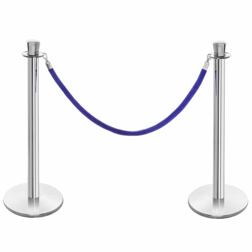 Pair of Premium Rope Barrier Posts - Polished Stainless Steel Posts with Blue Velvet Rope