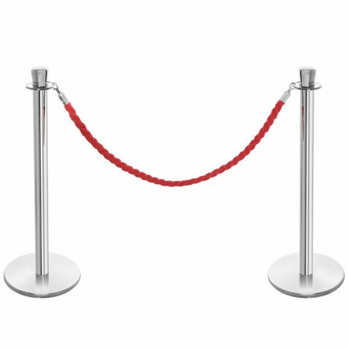 Pair of Premium Rope Barrier Posts - Polished Stainless Steel Posts with Red Twisted Rope