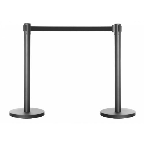 Pair of Retractable Belt Barrier Posts - Black Posts with Black Webbed Belts