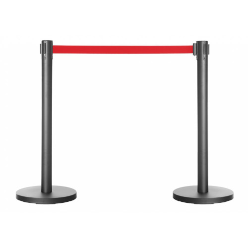 Pair of Retractable Belt Barrier Posts - Black Posts with Red Webbed Belts
