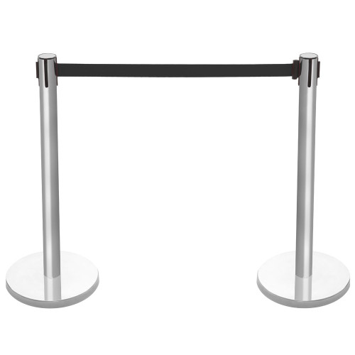 Pair of Retractable Belt Barriers - Brushed Stainless Steel Posts with Black Belts