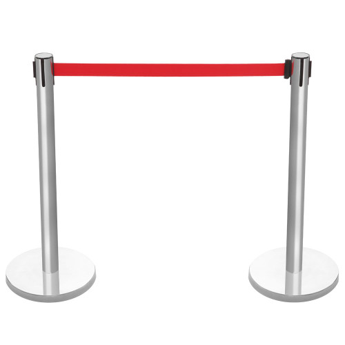 Pair of Retractable Belt Barriers - Brushed Stainless Steel Posts with Red Belts