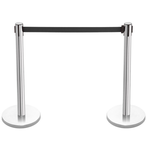 Pair of Retractable Belt Barriers - Polished Stainless Steel Posts with Black Belts