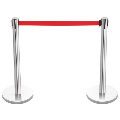 Pair of Retractable Belt Barriers - Polished Stainless Steel Posts with Red Belts