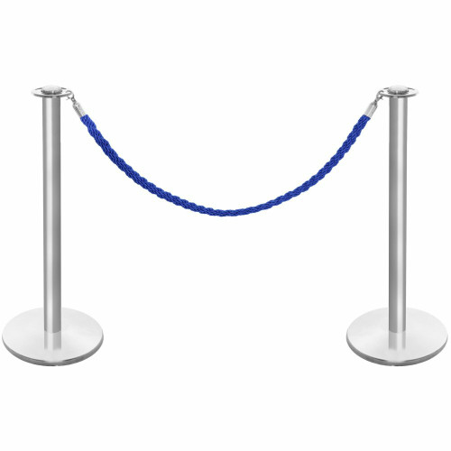 Pair of Rope Barrier Posts - Brushed Stainless Steel Posts with Blue Twisted Rope