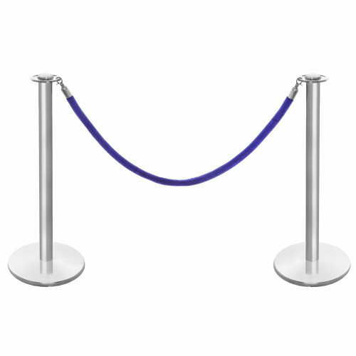 Pair of Rope Barrier Posts - Brushed Stainless Steel Posts with Blue Velvet Rope