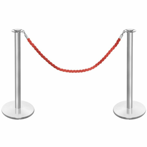 Pair of Rope Barrier Posts - Brushed Stainless Steel Posts with Red Twisted Rope