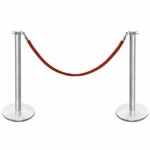 Pair of Rope Barrier Posts - Brushed Stainless Steel Posts with Red Velvet Rope