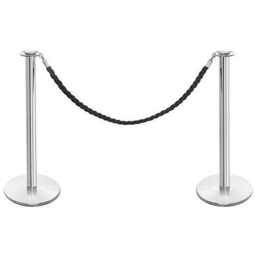 Pair of Rope Barrier Posts - Polished Stainless Steel Posts with Black Twisted Rope