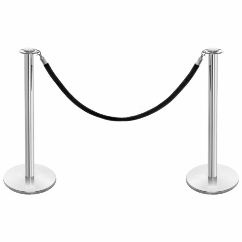 Pair of Rope Barrier Posts - Polished Stainless Steel Posts with Black Velvet Rope